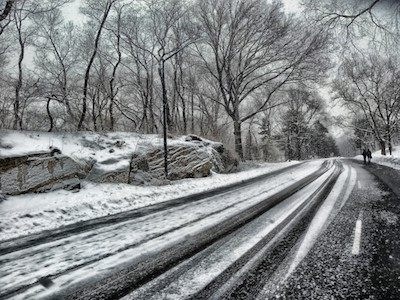 central_park_new_york_city_road_trees_winter_snow_rocks_silhouettes